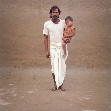 Gopal Roy with his grandchild Rani.