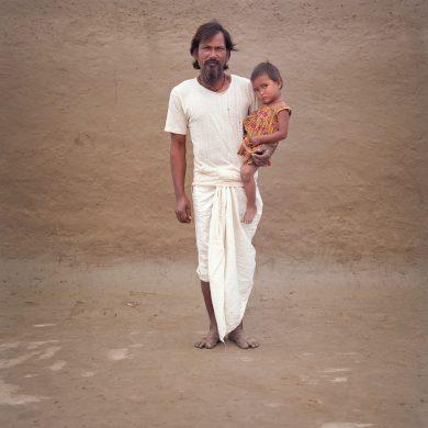 Gopal Roy with his grandchild Rani.